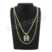 "ICED OUT H INITIAL BUBBLE PENDANT W/ 24"" MIAMI CUBAN /18"" TENNIS CHAIN NECKLACE"