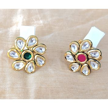 Flower design Kundan stone Traditional adjustable Finger ring