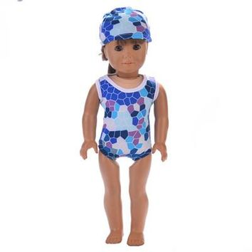 Swimming Pool beach 8 colors Flowers Hat Swimming Dress Suit For 18 Inch American Girl Dolls Fit Baby Dolls kid Girl GiftSwimming Pool beach KO_14_1