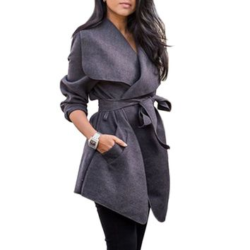 Women's Casual Asymmetrical Cardigan  Belted Trench Coat