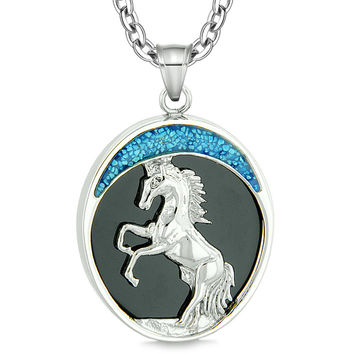 Courage Horse Wild Moon Mustang Protection Powers Amulet Simulated Black Onyx Pendant 22 Inch Necklace