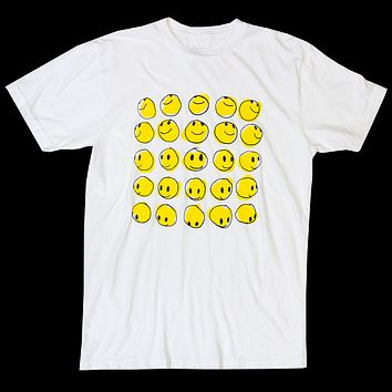 smiley group white graphic tee