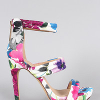 Liliana Warm Floral Open Toe Heel