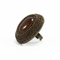 Large Gemstone Rings - Large Cocktail Ring - Cocktail Rings - Brown Jewelry - Unique Rings - Adjustable Ring - Large Fashion Rings