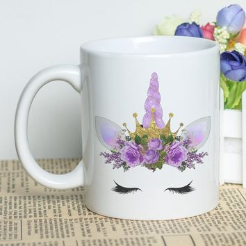 Gift Cup 11oz White Mug with Lovely Unicorn Printing Custom Photo Coffee Cup 330ml Carton Unicorn Mug Customizable