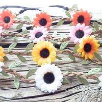 GRAB BAG: Hippie Flower Crown, Daisy Floral Crown, Flower head wrap, White daisy crown, Sun Flower, Elastic back Headbands, Flower Headbands