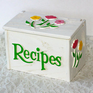 Recipe Box Hard Plastic with Flowers on 3 Sides | FTD Floral Box | Vintage 80's | Holds 3 x 5 Cards | White Pink Yellow Green Faux Wood