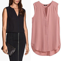 New Fashion Sexy Women Blouse Vest Tops Sleeveless Chiffon Smooth Shirt  Summer Casual Loose Tops