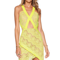 Yellow Eyelash Lace Cut-Out V -Neckline Wrap Dress