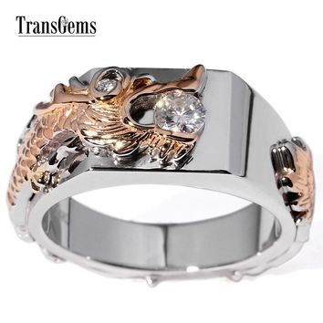 14KT White & Rose Gold 0.25 Carat F Colorless Lab Moissanite  Power Of Dragon Ring
