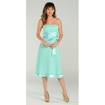 ON SPECIAL LIMITED STOCK - Short Strapless Mint Bridesmaid Dress With Bow Knee Length