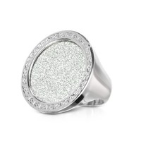 Rebecca Designer Rings Half Moon - Crystal and Bronze Round Ring