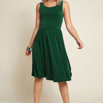 Simple Swish Knit Dress in Dark Green