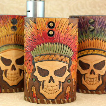 Big Chief Custom Leather Vapor Flask Sleeve Case Wrap Skin for VaporFlask Vaporizer Mod