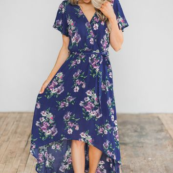 Summer Blues Floral Hi-Lo Dress
