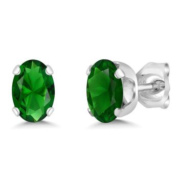 Fabulous Simulated EMERALD Oval Cut 2.40 Carat Total Weight Stud Earrings 7x5MM