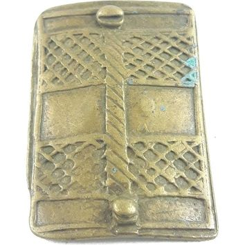 African Charms / Akan gold Weight - Shield Form 3 / Trinket, unique good luck charm / Akan people old curency / African art