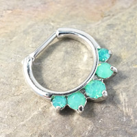 16 Gauge Mint Green Opalite Crystal Septum Ring Clicker Daith Ring Nose Piercing