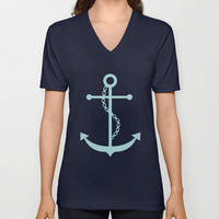 Navy Blue and Mint Anchor and Stripes V-neck T-shirt by heartlocked