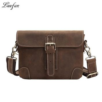 Vintage genuine leather Messenger bag Men's crazy horse leather waist bag Cowhide shoulder bag for casual