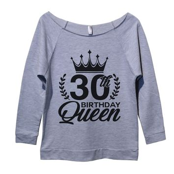 30th birthday Queen Womens 3/4 Long Sleeve Vintage Raw Edge Shirt
