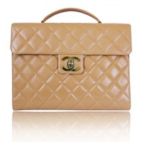 CHANEL - Beige Caviar Briefcase Business Bag