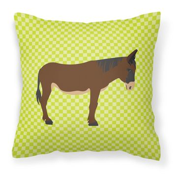 Zamorano-Leones Donkey Green Fabric Decorative Pillow BB7679PW1414
