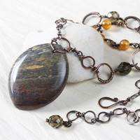 Petrified Wood Jasper Pendant Necklace, Handcrafted Copper Chain with Yellow Agate