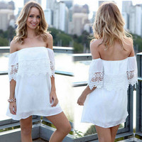 New Sexy Fashion Lady Women's Summer Boho Casual Off-Shoulder Short Sleeve Mini Dress Beach Dress Party Evening Cocktail