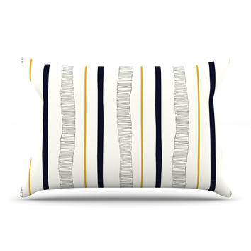 """Laurie Baars """"Textured Stripes"""" Abstract Lines Pillow Case"""