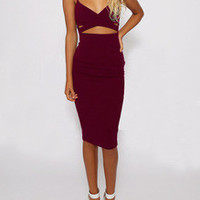 Burgundy Spaghetti Strap Cut Cut Dress