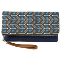 Tribal Style Turquoise Chevron Pattern Clutch