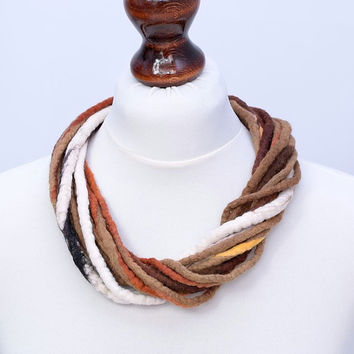 Twist, brown & beige, multi strand fiber necklace - twisted multistrand rope jewelry - felt rope necklace [N111]