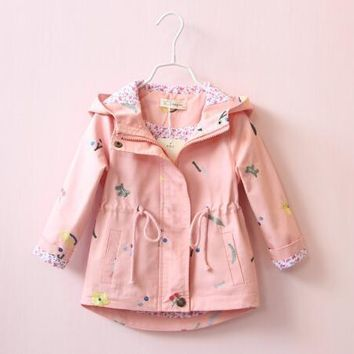 2018 Spring Embroidery Flower Jackets For Girls Newborn Baby Hooded Coats Kids Clothes Windbreaker Outerwear For Girls 2-7 Years