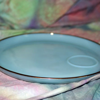 Fire King Turquoise Blue Milk Glass Plate with Gold Trim by Anchor Hocking