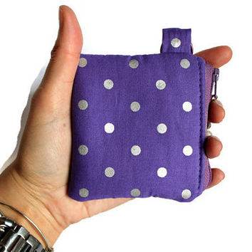 Coin pouch, purple and silver dots bag, padded zipper mini pouch, lipstick case, key chain pouch, credit card pouch, mini money bag.