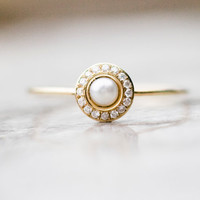 White pearl wedding ring with diamonds in 14k gold, pearl engagement ring, fine jewelry
