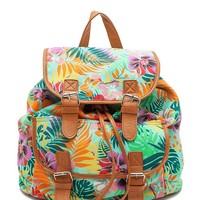 Leather Trimmed Tropical Print Back Pack