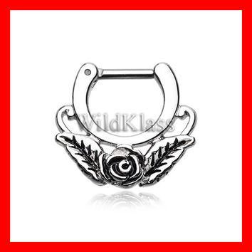 Septum Clicker 16g 14g Rose Blossom Icon Earring Jewelry Septum Clicker Cartilage Piercing Tragus Ring Helix Conch Nose Belly Nipple