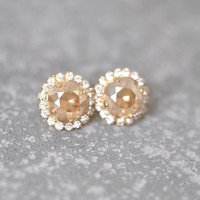 Champagne Diamond Earrings Swarovski Crystal Studs Rhinestone Beige Wedding Destination Bridesmaid Diamond Pendant Necklace Mashugana