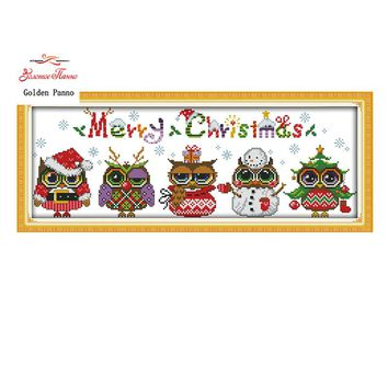 Golden Panno,Christmas Owls patterns Counted Cross Stitch Cartoon Cross Stitch 11CT 14CT Cross-Stitch Kit Handmade Embroidery923