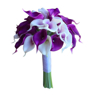 Bridal Bouquet - Real Touch Calla Lily bouquet: Purple and White