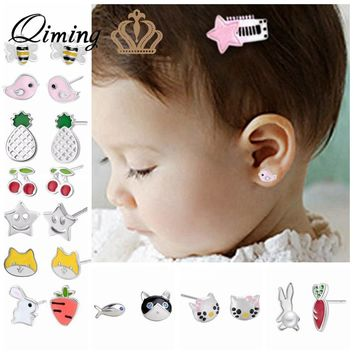 Lovely Women's Earrings Korean Children Kids Baby Jewelry Cute Animal Bird Hello Kitty Cat Rabbit Bee Cherry Stud Earrings Gift