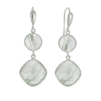 Double Drop Emerald Green Rutilated Quartz Earrings Set In Rhodium Plated Sterling Silver