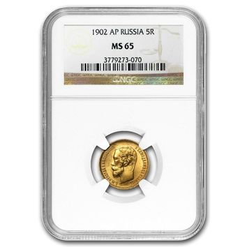 1902 Russia Gold 5 Roubles Nicholas II MS-65 NGC