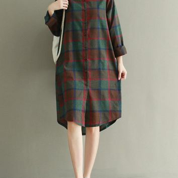 Vintage Plaid Long Sleeve Dresses