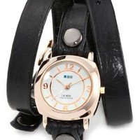 """La Mer Collections Women's LMODY004 """"Odyssey"""" 14k Gold-plated Watch with Black Leather Wrap-Around Band"""