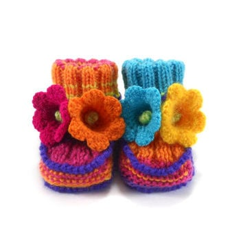 Hand Knitted Baby Booties with Crochet Bell Flowers, 3 - 6 months