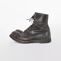 Vintage 60s Jump BOOTS / 1960s Black Leather Men's Paratrooper Combat Boots 10