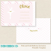Pink and Gold Ballerina Invitation - Printable